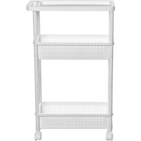 3 Tiers Slim Slide Out Kitchen Bathroom Thin Storage Trolley Cart Rack Holder Storage Saving Shelf