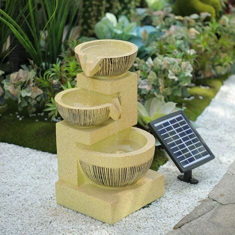 """main image of """"3 Tiers Solar Bowl Fountain Gold Outdoor Water Feature LED Lights Garden Statues"""""""