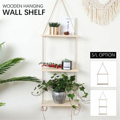 3 Tiers Solid Wood Rope Hanging Vintage Wall Shelf Floating Storage Rack