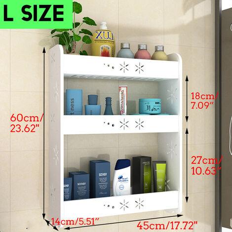 3 Tiers Wall-mounted Storage Rack Bathroom Toilet Shelf Towel Organizer 45x60cm White