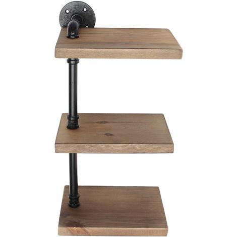 3 Tiers Wall Pipe Wood Board Floating Shelf Storage Shelving Rack 55*25*19cm