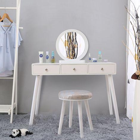 3 Tiroirs Coiffeuse Scandinave Blanc Meuble de Chambre avec Miroir et Tabouret - Surface 40x100 CM - Hauteur 75+50cm