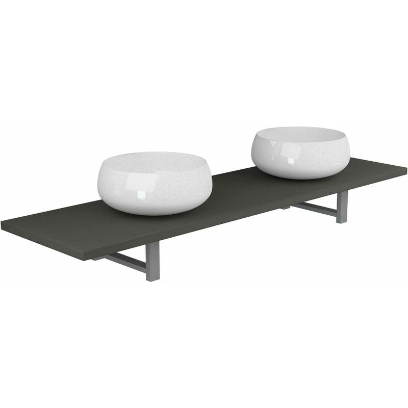 3-tlg. Badmöbel-Set Keramik Grau