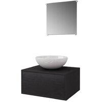 3-tlg. Badmöbel und Waschbecken Set Schwarz