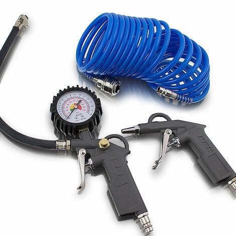3 tlg. Druckluft Zubehör Set für Kompressor Schlauch Reifendruck Ausblaspistole