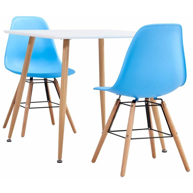 3-tlg. Essgruppe Kunststoff Blau - VIDAXL