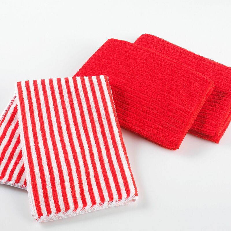 Douceur D'intérieur - 3 torchons 40 x 40 cm microfibre cuistot 2 unis/1 raye Rouge