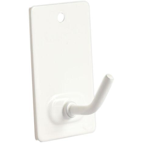 3 ud. percha pequeña blanca de acero inoxidable adhesivo o tornillo (Köppels P2001B) (Blíster)