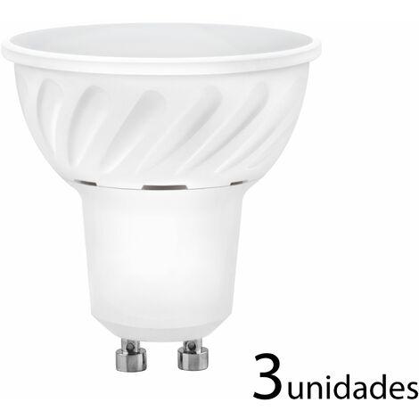 3 unidades Bombilla LED dicroica aluminio fundido 120 120 GU10 10W fría 1000lm
