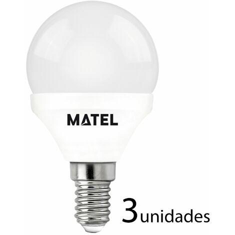 3 unidades bombilla LED esférica E14 7w cálida 650lm