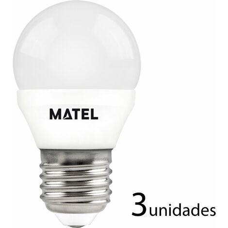3 unidades bombilla LED esférica E27 5w fría 500lm