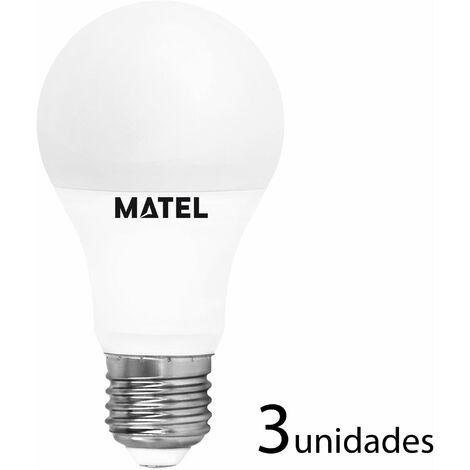 3 unidades Bombilla LED estándar E27 10w cálida 950lm
