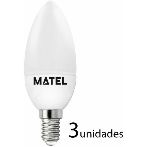3 unidades bombilla LED vela E14 7w cálida 650lm