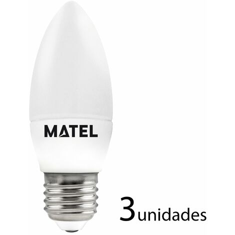 3 unidades bombilla LED vela E27 6w fría 600lm