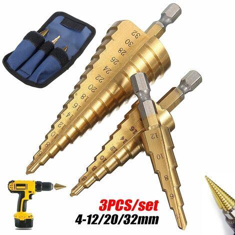 3 unids / set gran titanio HSS acero paso broca de taladro cortador de vástago juego de brocas hexagonales juego de herramientas + bolsa 4-12 / 20 / 32mm Mohoo