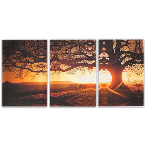 3 unids / set pintura al óleo árbol mesa lienzo decoración de la pared decoración del hogar