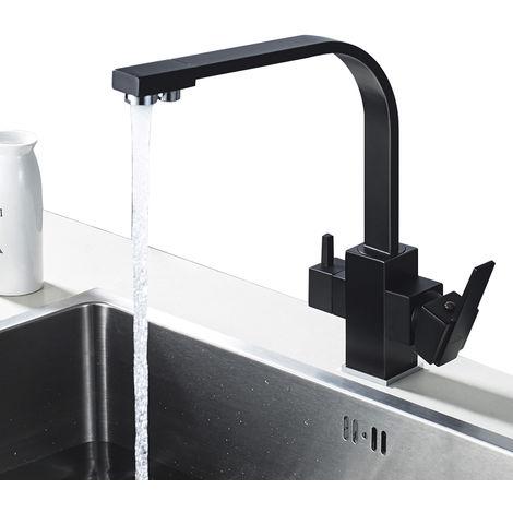 3 Vías Osmosis Grifo de Cocina, 360º Giratorio Grifería de Fregadero de Cocina, Mezclador Agua Fría y Caliente, Negro