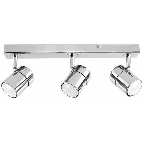 3 Way Adjustable Heads Chrome Straight Bar Ceiling Spotlight Fitting