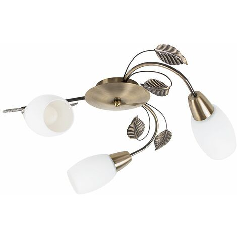 3 Way Antique Brass Decorative Leaf Curved Arm Ceiling Light With Frosted Glass Shades + 4W LED Candle Bulb Warm White