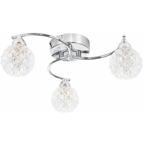 3 Way Arm Chrome Flush Ceiling Light + Diamond Cut Glass Globe Shades