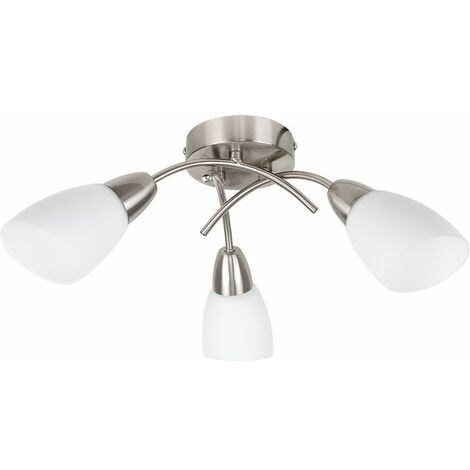 3 Way Arm Cross Over Flush Ceiling Light Frosted Glass Shades
