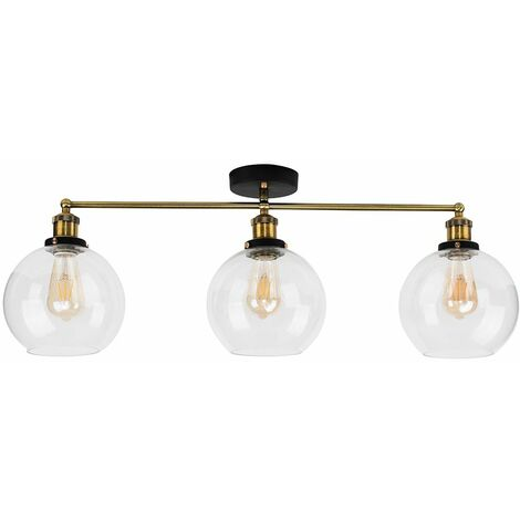 3 Way Black & Gold Ceiling Light with Clear Glass Globe Shades