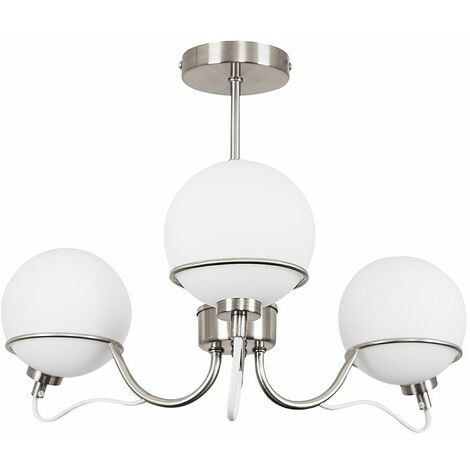 3 Way Brushed Chrome Ceiling Light With Frosted Glass Globe Shades + 3W LED G9 Bulbs Warm White