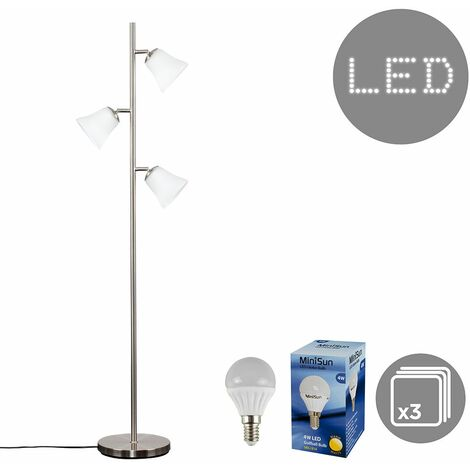 3 Way Brushed Chrome Floor Lamp + Frosted Glass Shades + 4W LED Golfball Bulbs - Warm White - Silver