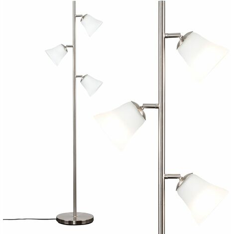 3 Way Brushed Chrome Floor Lamp + Frosted Glass Shades - Silver