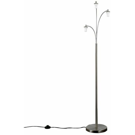 3 Way Brushed Chrome Floor Lamp White Glass Shades
