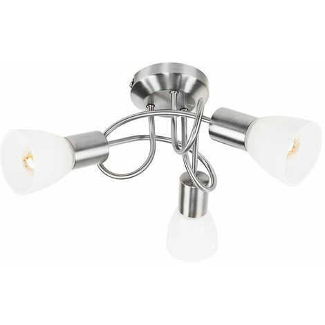 3 Way Brushed Chrome Flush Swirl Arm Ceiling Light + Frosted Glass Shades - Silver
