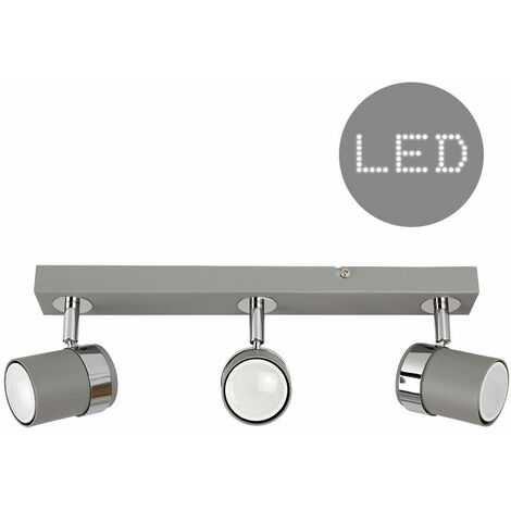 3 Way Cement & Chrome Straight Bar Ceiling Spotlight + 5W LED Gu10 Bulbs - Cool White - Grey