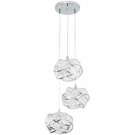 3 Way Chrome & Clear Acrylic Jewel Ring Ceiling Pendant Light Fitting - Add LED Bulbs