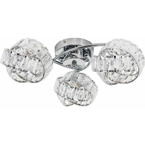 3 Way Chrome & Clear Acrylic Jewel Ring Flush Ceiling Light - Warm White LED - Silver