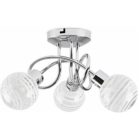 3 Way Chrome Flush Arm Ceiling Light + Clear & Frosted Glass Ring Globe Shades + 3w G9 LED Light Bulbs - Warm White