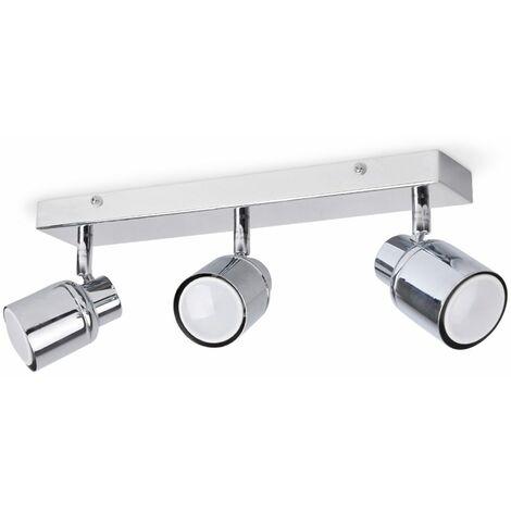3 Way Chrome Ip44 Adjustable Straight Bar Bathroom Ceiling Spotlight + 3 x Cool White Gu10 LED Bulbs - Silver