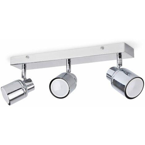 3 Way Chrome Ip44 Adjustable Straight Bar Bathroom Ceiling Spotlight + 3 x Warm White Gu10 LED Bulbs - Silver
