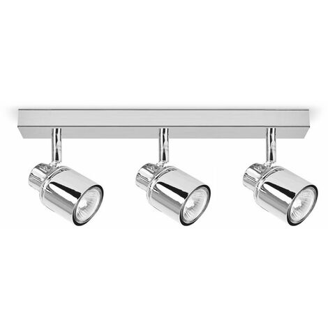 3 Way Chrome Ip44 Adjustable Straight Bar Bathroom Ceiling Spotlight - Silver