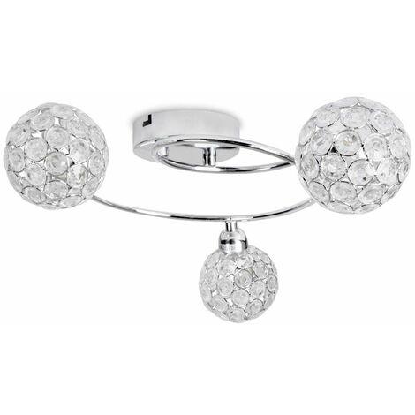 3 Way Chrome Swirl Flush Ceiling Light + Acrylic Jewel Moroccan Globe Shades - Silver