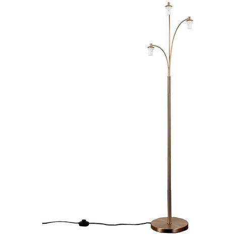 3 Way Copper Chrome Floor Lamp Light Curved Arm Lighting