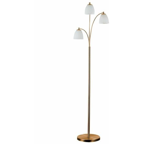 3 Way Copper Floor Lamp Frosted Glass Shades - No Bulbs