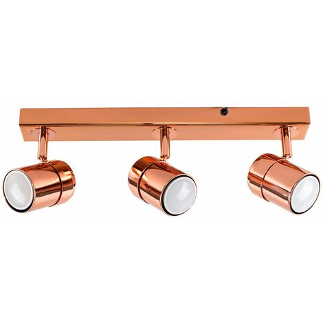 3 Way Copper Straight Bar Ceiling Spotlight