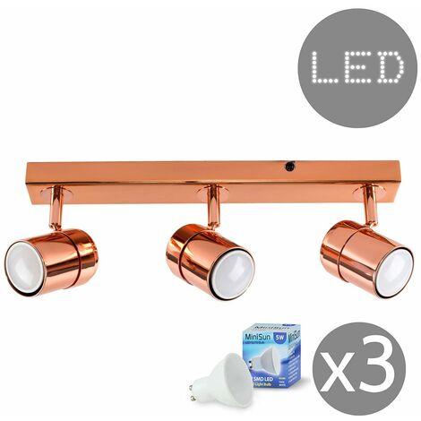 3 Way Copper Straight Bar Ceiling Spotlight + GU10 LED Bulb - Cool White