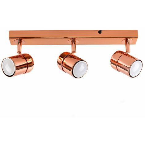 3 Way Copper Straight Bar Ceiling Spotlight + GU10 LED Bulb - Warm White