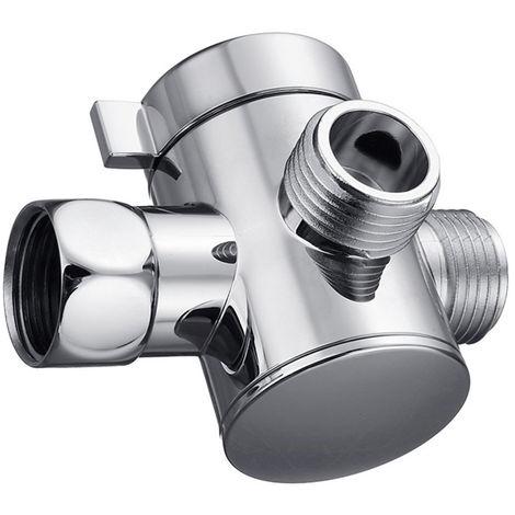 3-Way Ducha valvula de desvio Monte G1 / 2 ducha de mano brazo desviador Splitter cromo pulido Bano Ducha Sistema de reemplazo parte de union