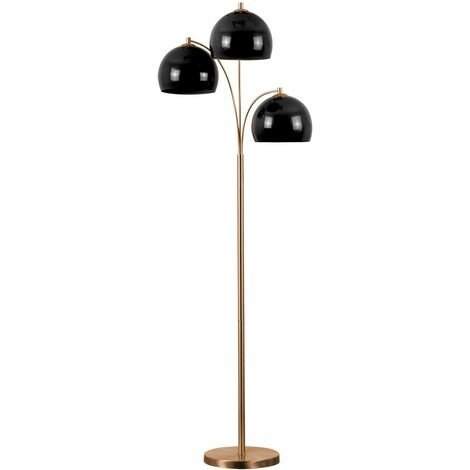 3 Way Floor Lamp + Dome Shades - White - Copper