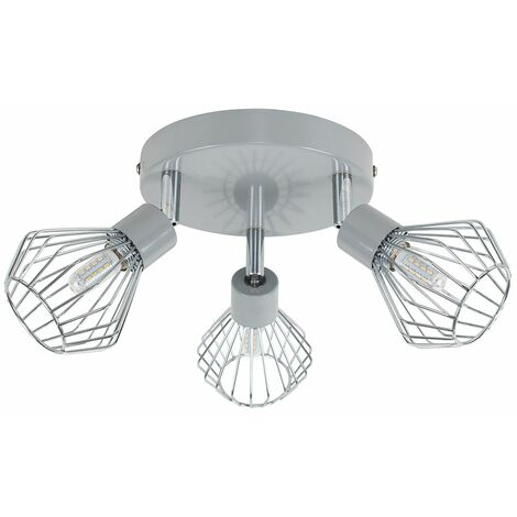 3 Way Grey & Chrome Round Plate Adjustable Ceiling Spotlight