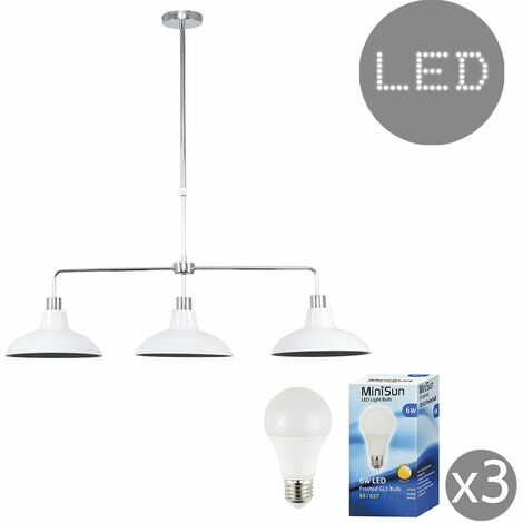3 Way Kitchen Island Ceiling Pendant Light Shades LED Bulbs
