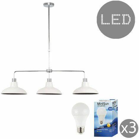 3 Way Kitchen Island Ceiling Pendant Light Shades LED Bulbs - Cream - Silver