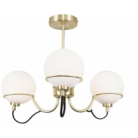 3 Way Matt Gold Ceiling Light With Frosted Glass Globe Shades + 3W LED G9 Bulbs Warm White